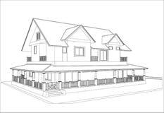 Nakreślenie projekt dom, wektor ilustracji