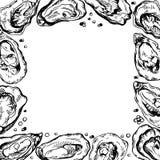 Nakreślenie ramowa ilustracja ostryga Atrament granica Fotografia Royalty Free