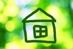 Nakreślenie zielony dom Zdjęcie Royalty Free