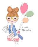 Nakreślenie balon i dziewczyna Zdjęcia Royalty Free