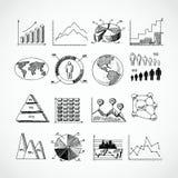 Nakreślenie diagramy ustawiający Zdjęcie Stock