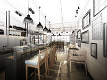 Nakreślenie projekt sklep z kawą Obrazy Royalty Free