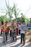 NAKRONPHATHUM THAÏLANDE - 6 JUILLET : Cérémonie de mariage le 6 juillet 2014, MOIS image libre de droits