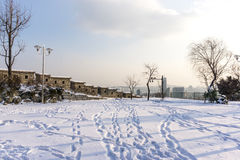 Naksan park covered in snow Stock Photos