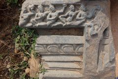 Nalanda Ancient Stone Carving Detail Royalty Free Stock Photography