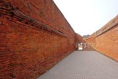Nalanda Mahavihara Brick Entry. This photo is of a brick arched recess in a brick wall at Nalanda ruins in Bihar India. Nalanda Mahavihara was a large Buddhist Stock Image