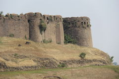 Old Fort. Outer bastions of historical Naldurg fort in Osmanabad, India Stock Photo