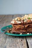 Naleśnikowy kulebiak od wątróbki z orzech włoski Ciąć Obraz Stock