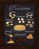 Naleśnikowy menu z orzechami włoskimi, migdałów nerkodrzewów arachidów hazelnuts Zdjęcia Royalty Free