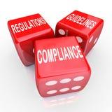 Nalevingsverordeningen Richtlijnen Drie dobbelen Woorden Stock Foto's