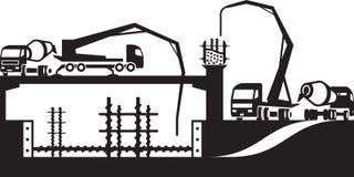 Nalewać beton na budowie ilustracja wektor