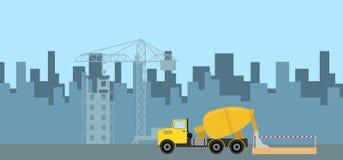 Nalewać beton na budowie ilustracji