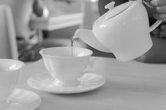 Nalewać gorącej herbaty w ranku Obrazy Royalty Free