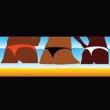 Nalgas de la mujer en el vector del mar stock de ilustración