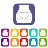 Nalgas de la mujer preparadas a los iconos de la cirugía plástica ilustración del vector