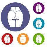 Nalgas de los iconos de la muchacha fijados stock de ilustración
