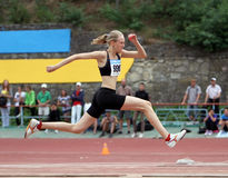 Nalivaiko Ylia competes in the triple jump Royalty Free Stock Images