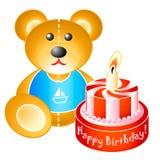 nalle för björnfödelsedagcake Royaltyfri Foto