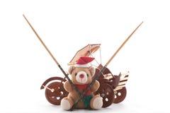 nalle för rickshaw för björnchpsticksjul Fotografering för Bildbyråer