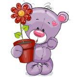 Nalle med blomman stock illustrationer