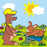 Nalle och kanin Fotografering för Bildbyråer
