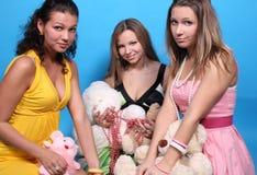 nalle tre för vänner för pärlbjörnkvinnlig Fotografering för Bildbyråer