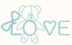 Nallebjörn för förälskelse som märker kortet Royaltyfri Bild