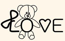 Nallebjörn för förälskelse som märker kortet Arkivfoton