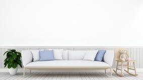 Nallebjörn i vardagsrum eller ungerum - tolkning 3D Royaltyfri Fotografi