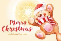 Nallebjörn med ett tomtebloss claus santa Bakgrund för jul och för nytt år Kort för 2017 glad hälsning för jul och för lyckligt n Arkivbild