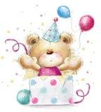 Nallebjörn med gåvan lyckligt födelsedagkort Arkivbild