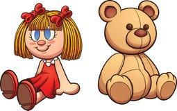 Nallebjörn och docka stock illustrationer