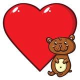 Nallebjörn och hjärta Arkivfoto