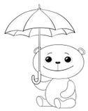 Nallebjörn och paraply, konturer Royaltyfria Bilder