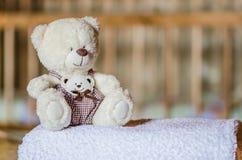 Nallebjörn på handduken Arkivfoto