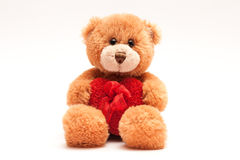 Nallebjörn som rymmer en hjärta med ett band royaltyfria foton