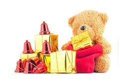 Nallebjörnar med gåvaasken i festivalen för nytt år Royaltyfri Foto