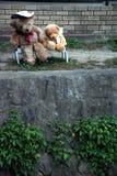 Nallebjörnar på bänk Arkivfoto