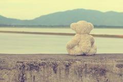 Nallebjörnen sitter vänta henne tappning för stil för illustrationlilja röd royaltyfria foton