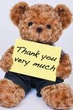 Nallebjörnen som rymmer ett tecken, som läser, tackar dig mycket isolat Arkivbild