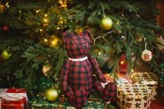 Nallebjörnen som under sitter, dekorerade med ljusjulgranen med gåvaaskar royaltyfri fotografi