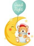 Nallebjörn för bra natt som sitter på en måne Royaltyfri Bild