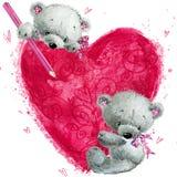 Nallebjörn med den stora röda hjärtan Hjärta med Swans på Retro bakgrund Arkivbild