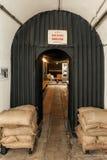 Nalotu schronienie w Dżersejowych Wojennych tunelach Powikłanych w St Lawrance, bydło, channel islands, UK Zdjęcia Royalty Free