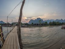 Nam歌曲河,老挝 免版税库存照片