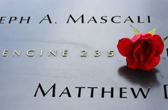 Nam bij 9/11 Gedenkteken toe Royalty-vrije Stock Foto's