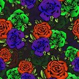 Nam bloem naadloos patroon, vectorachtergrond toe Bloemenrozen in ongebruikelijke heldere kleuren creatieve, purpere knop, sinaas Royalty-vrije Stock Foto