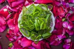 Nam bloemblaadjes en Aloë Vera Natuurlijke kruiden en essentiële elementen voor gezichts of gezichtspak voor heldere en gloeiende stock foto