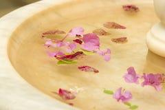 Nam bloemblaadjes in marmeren fontein toe Stock Foto