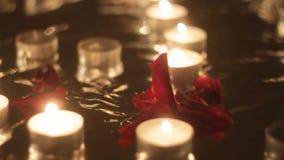 Nam bloemblaadjes op een achtergrond van het branden van kaarsen toe stock video